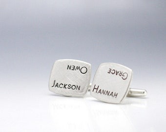 Custom Cufflinks Personalized Name Cufflinks Hand Stamped Cufflinks Father's Day Gift Hand Stamped Jewelry Wedding Cufflinks