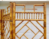 ON SALE Vintage Asian Three Panel Room Divider Chinoiserie Chippendale Bamboo Screen Mid Century Privacy Screen, Folding Screen, Pegged Join