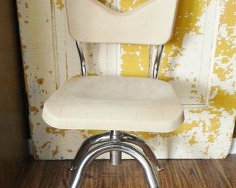 ON SALE Vintage Scholar Craft Child's School Chair, Adjustable Height, Molded Plastic and Stainless, Beige, Mid Century Modern