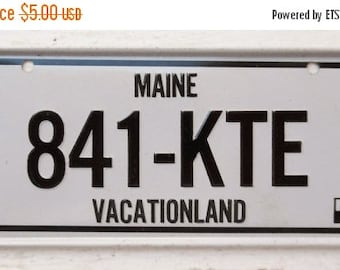 ON SALE Vintage, Maine, 1981, Bike Plate, Bicycle, License Plate, Cereal Premium, Miniature, Tin, Embossed, Collectibles