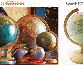 ON SALE J. Chein, World, Globe, 1920'S, World Globe, Vintage, Antique, Made in Usa, Child's, Tin, Litho, , Map, Blue, Gold, Yellow, Collecti