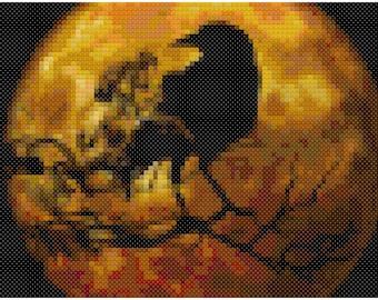 Raven Moon Gothic Cross Stitch Pattern, Digital Download PDF