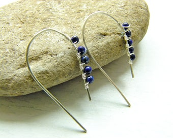Threaders, Earwires, Wire Wrapped Earrings, Lapis Lazuli, Blue Earrings, Gemstone Jewellery, Gift For Mom, Dangles, Drop, Boho, Gift For Her