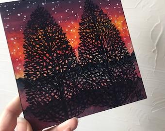 Twilight Silhouette Trees Original painting