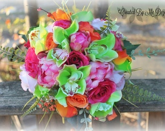 Tropical Bouquet and matching Grooms bout ..ready to ship!!