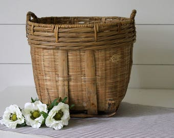 Vintage Large Rattan Basket with Handles . Modern Farmhouse . Natural Home . Cottage Chic . Wicker Tote . Laundry Room Decor . Magazine Rack