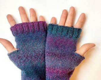 Purple blue pink fingerless gloves; gift fingerless gloves; women's fingerless gloves
