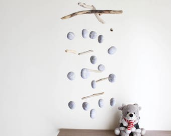 Driftwood Mobile with Felt Pebbles and Driftwood -- Hanging Nursery Decor -- Neutral Gender Baby Mobile -- Rustic Natural -- Ready to ship
