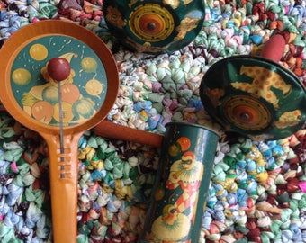 Vintage Tin Toy Noisemakers Lot of 4 Carnival Themed 1930s T Cohn Clowns Balloons Ratchet Clanger Old Collectible Party Favors Decor Display