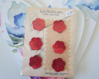 Red Mother of Pearl Flower shaped Buttons- 3/4 inch- 6 on a card