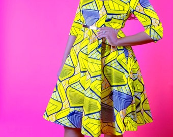 ZARIAH - Yellow Waves African Print Dress SM - XL