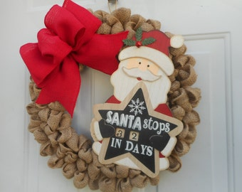 Christmas wreath Holiday wreath Christmas burlap wreath Holiday burlap wreath Santa wreath Santa Claus wreath Calendar wreath  Ready to ship