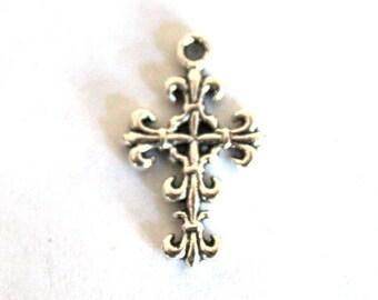 6 Silver Plated Filigree Cross Charms/Pendants