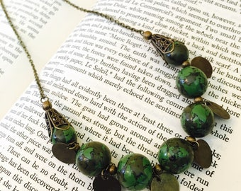 Faux Green Stone Brass Necklace