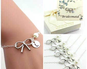 Free Shipping, Set of 6 personalized bow bracelets.Personalized sterling silver bow bracelet., monograme bracelet
