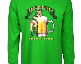 Funny St Patricks day t-shirt pin up girl feelin' lucky
