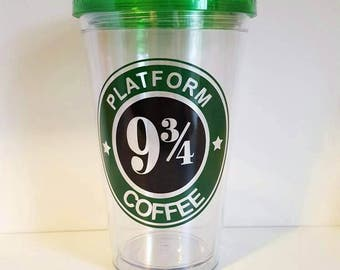 Harry Potter inspired 16 ounce acrylic tumbler/platform 9 3/4/coffee/custom