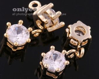 4pcs-7.5mmX5mm Bright Gold plated (clear)LUX Cubic zirconia crystal Charms bridal jewelry weddings (K1113G)