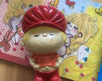 Cute vintage Red Boy ceramic coin bank by Ado Mizumori from Japan