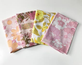 4 Vintage Fabric Fat Quarter Bundle in Pink and Yellow