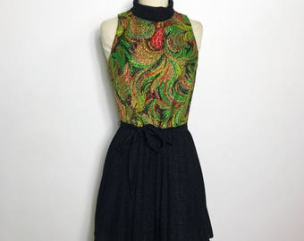 Vintage 1960s Vera Mont Paris Lurex Mini Dress, XS