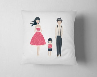 """Family with little girl Decorative pillow 18""""x18"""" printed on fabric"""