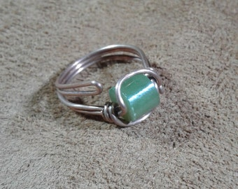 Handmade copper jade wire wrap ring, jade ring copper, ring in copper with jade,  jade handmade ring