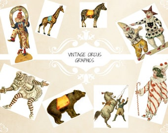 Vintage Circus Collage Sheet Instant download,3 beautiful circus pages,ideal for journals,cards,all crafts