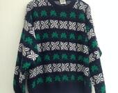 Vintage rad 80s 90s Knitted Jumper Sweater Ireland lucky Shamrock irish