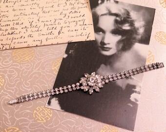 Vintage Rhinestone Bracelet - Vintage Bracelet - Clear Rhinestone Bracelet - Flower Bracelet - 1950s Bracelet - Gift for Her - Vintage 1950s