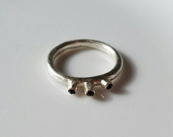 Quirky triple spinel sterling silver ring, size 6.75