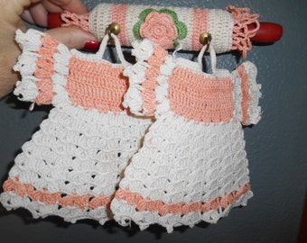 Peach and White Crochet Covered Child's Rolling Pin with 2 Crochet Hot Pad Dresses