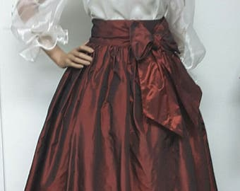 Iridescent Burgundy Silk Taffeta Front Wrap MAXI Skirt. Ball Gown Skirt.  Petticoat. Sash. Pockets. Womens. Handmade.