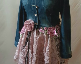 Boho Upcycled Denim Jacket Hippy Stevie Nicks Fairy Couture Lagenlook Bohemian OOAK Wearable Art