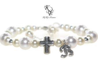 Baptism Bracelet Personalized Christening Bracelet Baby Bracelet Cross Bracelet Baptism Gift Initial Bracelet Baby Gift Christening Gifts