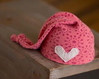 Newborn Girl Hat, Upcycled Newborn Hat, Newborn Coming Home Outfit, Newborn Photo Prop, Pink Newborn Hat, Knot Hat, Heart Hat, Photography