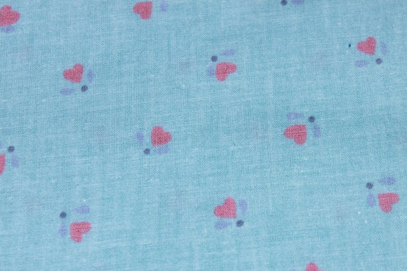 Vintage small tiny print pink blue heart cotton fabric by for Vintage childrens fabric by the yard