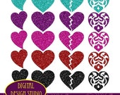 SALE 25% OFF. Glitter Hearts clip art set. INSTANT Download for Personal and commercial use.