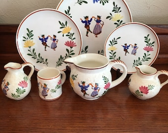 Vintage Alpine Peasant Ware Ironstone Plates, Pitchers, Cup, Tea Set [Fre]