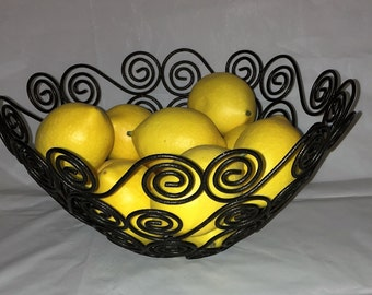 Vintage Black Metal Fruit Bowl, Metal Scroll, Ornate Bowl, [E]