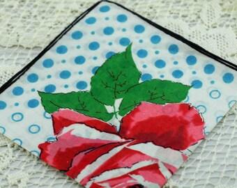 Vintage Hankie Unique Red Flower on Polka Dots  #A28