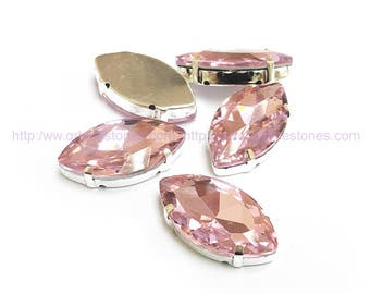 Sew On Rhinestone Navette Pink (Light Rose) Crystal fancy stones in silver setting for sewing 5pcs