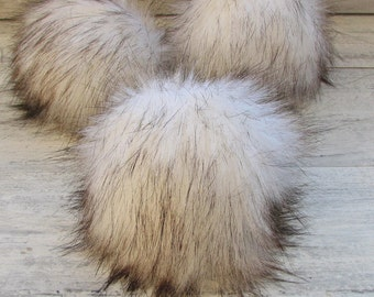 Extra Large Pom Pom  Faux Fur Pom Pom Detachable Bright White with Black Tip Fox Fur Pom Pom for Your Knit Hat