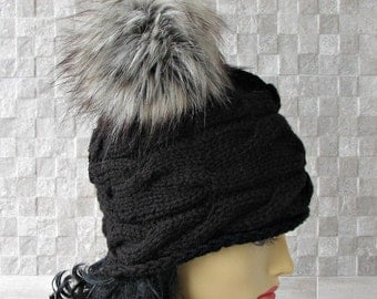 SALE Parisian style, Winter Hat Kniited Beanie Hat, Knit Hat for Women Knit Hats Women, Black Knitted Hat Large Fur Pom Pom