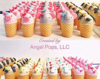 Ice cream cone animal cake pops