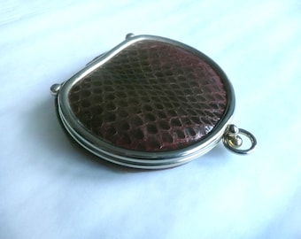 Vintage coin purse - snakeskin coin purse - brown snakeskin and leather expandable coin purse - 1940s lined snakeskin purse