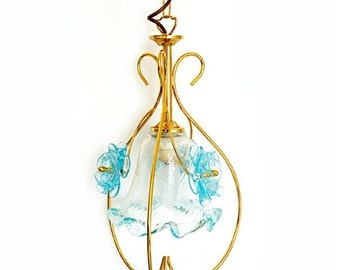 Winter Sale Vintage Venetian Murano Chandelier, Italian Pendant Flowers  Lamp , Murano light blue glass hanging light
