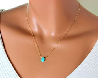 Turquoise Pendant Necklace Gemstone Gold Filled or Sterling Silver Chain Minimalist Jewelry Delicate Simple Custom Gift for Her