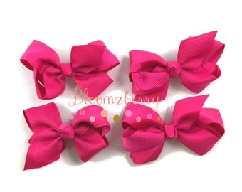 "4 pcs Set 3"" Grosgrain Boutique Bows - Dark Pink Color - NO Clip - Grosgrain Bows -Dark Pink Bows - Thanksgiving/Birthday-Boutiques Bows"