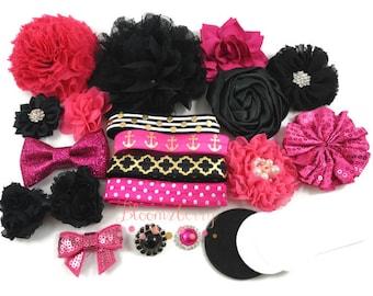 DIY 30 pcs  Black/Dark Pink/Gold  Flower Headband Kit-  Baby Headband Kit - Flower Kit- Baby Shower/Birthday/Party Favor/Craft Supplies Kit